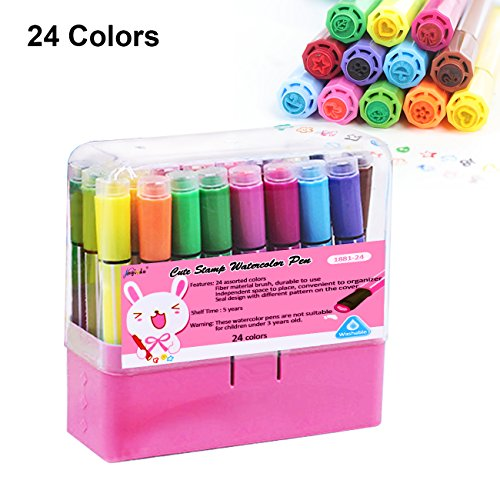 Magicdo 24 Colors Kids Markers with Stamps Bonus, Washable Fine Tip Coloring Marker Pens with Storage Case