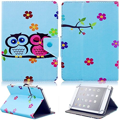 "Tsmine NuVision 7.85-inch Tablet Flip Cartoon Case - Universal Protective Lightweight Premium Kids Cute Owl Printed PU Leather Case Cover Stand for NuVision 7.85""-8.0"" Tablet, Owl Baby"