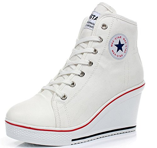 Padgene Women's Sneaker High-Heeled Fashion Canvas Shoes High Pump Lace UP Wedges Side Zipper Shoes (6-6.5 US, (Canvas Pump Heels)