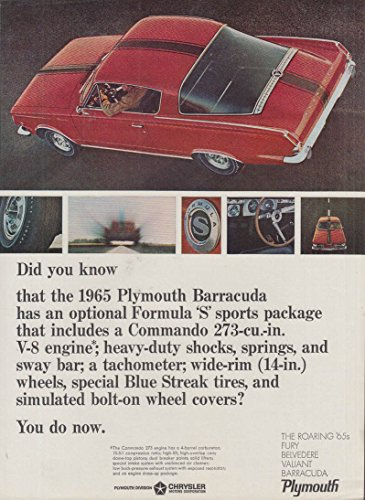 Did you know the Plymouth Barracuda Formula S ? You do now ad 1965
