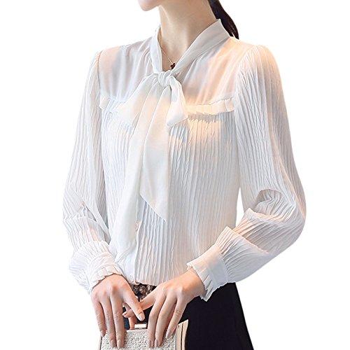 XXIN Camiseta De Manga Larga con Corbata Mujer Camiseta Blanca ...