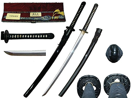 (Musashi Hand Forged Japanese Samurai Sword with T10 Carbon Steel, Katana. Real Ray Skin, Iron Tsuba)