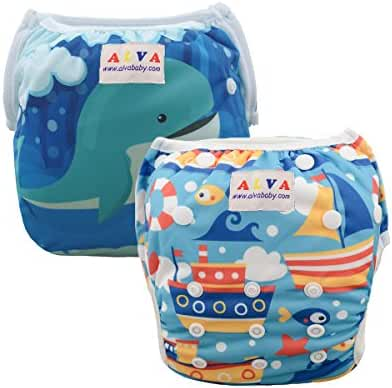 ALVABABY Swim Diapers 2pcs Pack One Size Reuseable Washable 0-36 months (Baby Boys)