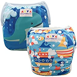 ALVABABY 2pcs Swim Diapers Reuseable Adjustable for Baby Gifts & Swimming Lessons (Whale and Boat, 0-2 Years)