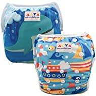 ALVABABY Swim Diapers 2pcs Pack One Size Reuseable Washable 0-36 Months (Baby  Boys