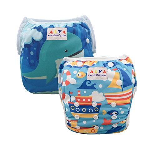 ALVABABY 2pcs Swim Diapers Reuseable Adjustable for Baby Gif