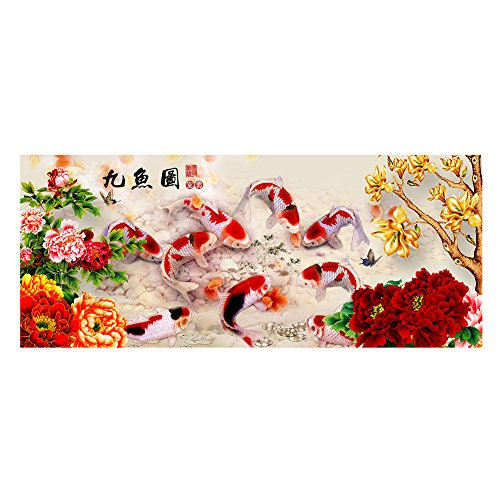 Whitelotous 5D DIY Peony Nine Fish Diamond Painting Embroidery Cross Stitch Home Decor