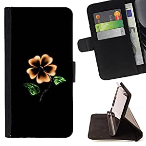 DEVIL CASE - FOR Apple Iphone 5C - Flower Black Yellow Garden Art Painting Blossom - Style PU Leather Case Wallet Flip Stand Flap Closure Cover