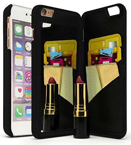 Bastex iPhone 6 Plus Case, Hidden Back Wallet Mirror Case with Stand Feature and Card Holder for Apple iPhone 6 Plus, 6S Plus 5.5- Black