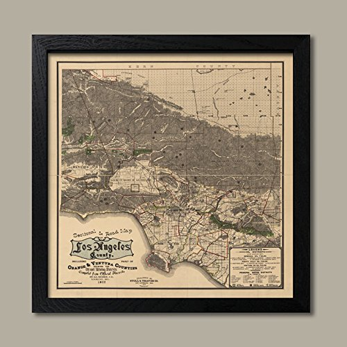 Historic 1900 Los Angeles California Road Map; One 12x12in Black Framed Print
