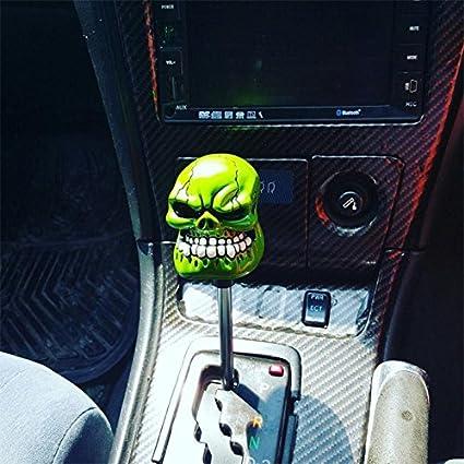 SMKJ Universal Auto Schaltknauf Totenkopf Skull Schaltkn/üppel Gie/ßharz Gear Shifter Knob f/ür most Manuelles oder automatisches Getriebe Ohne RGA-Gelb