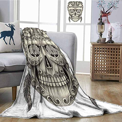 SONGDAYONE Hypoallergenic Blanket Spanish Sugar Skull with Roses Dragonfly Eyes Feather and Earrings Artwork Bedroom Warm W70 xL84 Grey Ivory