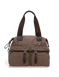 TianHengYi Women's Big Canvas Top Handle Tote Handbag Vintage Weekender Shoulder Bag with Shoulder Strap