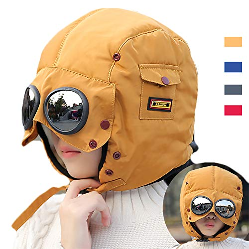 (Winter Windproof Trooper Trapper Hat for Kids, Toddler Boy Girls Snow Ski Aviator Earflaps Cap with Goggles, Fleece Lined, Yellow)