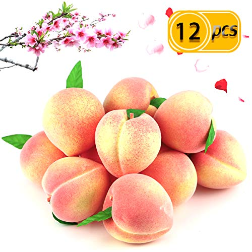 BcPowr 12PCS Fake Fruit Peach - Artificial Fruit Plastic Artificial Lifelike Peach Simulation Pink Peach Fake Home Display Decoration For Still Life Paintings, Storefront Decoration(Pink,2.95
