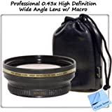 Professional 0.43x High Definition Wide Angle Lens w/ Macro Attachment for High Speed Digital SLR Cameras & Camcorders. Includes Step Up Ring (67mm)