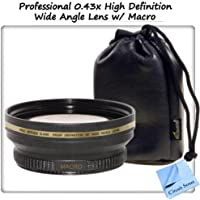 Professional 0.43x High Definition Wide Angle Lens w/ Macro Attachment for High Speed Digital SLR Cameras & Camcorders. Includes Step Up Ring (46mm)