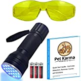 21 LED Black Light Cat Dog Urine Detector & Yellow Glasses Kit - This Kit Includes Powerful UV 21 LED Blacklight with 3 High Drain Alkaline Batteries Included , UV Glasses with Yellow Tint and Quick Start Guide - Cat Urine Detection , Odor Remover , Causes and Solutions