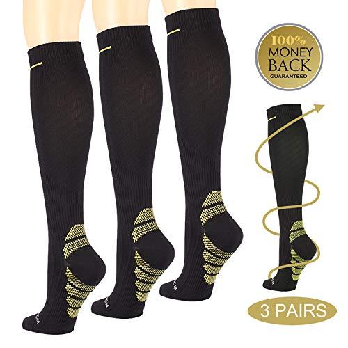 3Pack Compression Socks for Men &Women,Running Compression Socks 20-30mmhg for Travel,Maternity,Athletics,Nurse-Shin Splints,Recovery,Calf and Leg Pain (Black/Green, L/XL)