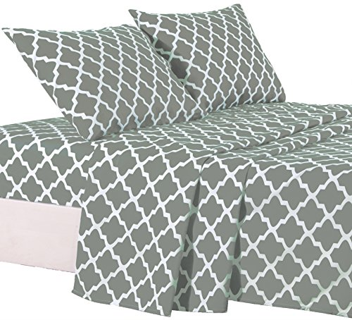 (Lux Decor Collection Bed Sheet Set - Brushed Microfiber 1800 Bedding - Wrinkle, Stain and Fade Resistant - Hypoallergenic - 4 Piece (Queen, Quatrefoil Grey))