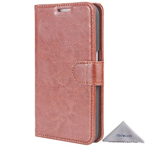 S6 Case, Wisdompro Premium PU Leather 2-in-1 Protective [Folio Flip Wallet] [Kickstand] Case with Credit Card Holder for Samsung Galaxy S6 Only - Brown with Stand
