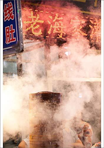 Media Storehouse A2 Poster of Chinese Dumpling Steamer in Xian Street at Night (13519867) (Best Dumplings In Beijing)