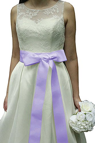 Wedding Sash Bridal Belts Simple Classic Silk Ribbon Sash for Dress (Lavender)
