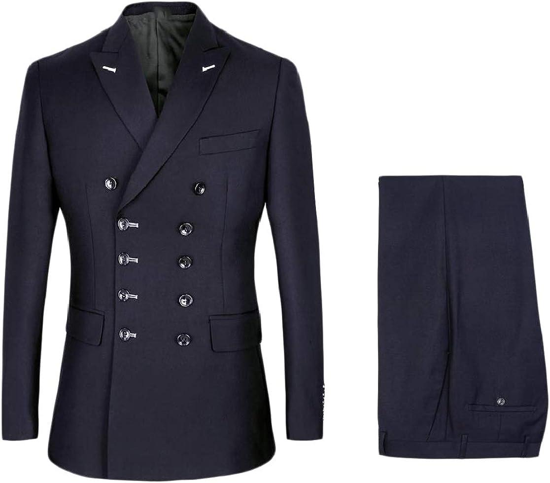 Comaba Men Baggy Double-Breasted Tuxedo Lapel Set Blazer Jacket Pants