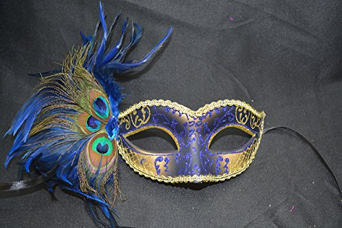 Blue/gold Peacock Masquerade Mask Party Mask Women's Mask (Peacock Couple Costume)