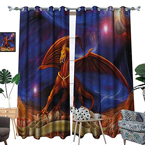 Warm Family Dragon Window Curtain Fabric Fantasy Scene with Dragon Knight Against Cosmos Galaxy Planetary Space Background Drapes for Living Room W120 x L96 Blue Cinnamon ()
