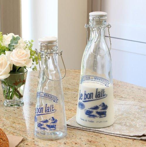 Juego de 2 botellas de leche de cristal francés para las transparente con diseño de French y pesas para cierres 900 ml: Amazon.es: Hogar