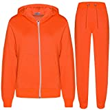 A2Z 4 Kids Kids Girls Boys Plain Tracksuit - T.S Plain Neon Orange 7-8