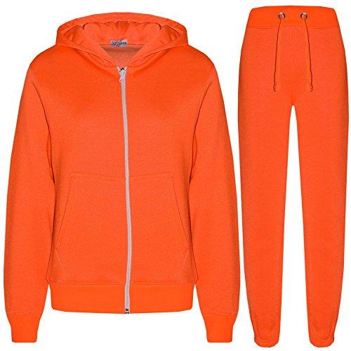 a2z4kids Kids Girls Boys Plain Tracksuit Hooded Hoodie Bottom Jog Suit Joggers 7-13 Year Neon Orange (Boys Sweatshirt Orange)