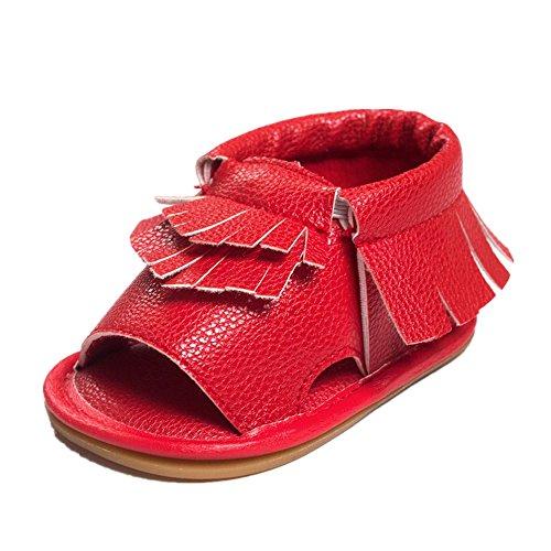 Tefamore Sandalias Zapatillas Bebé De Borla Princesa Primeros Caminantes Niñas Niño Rojo