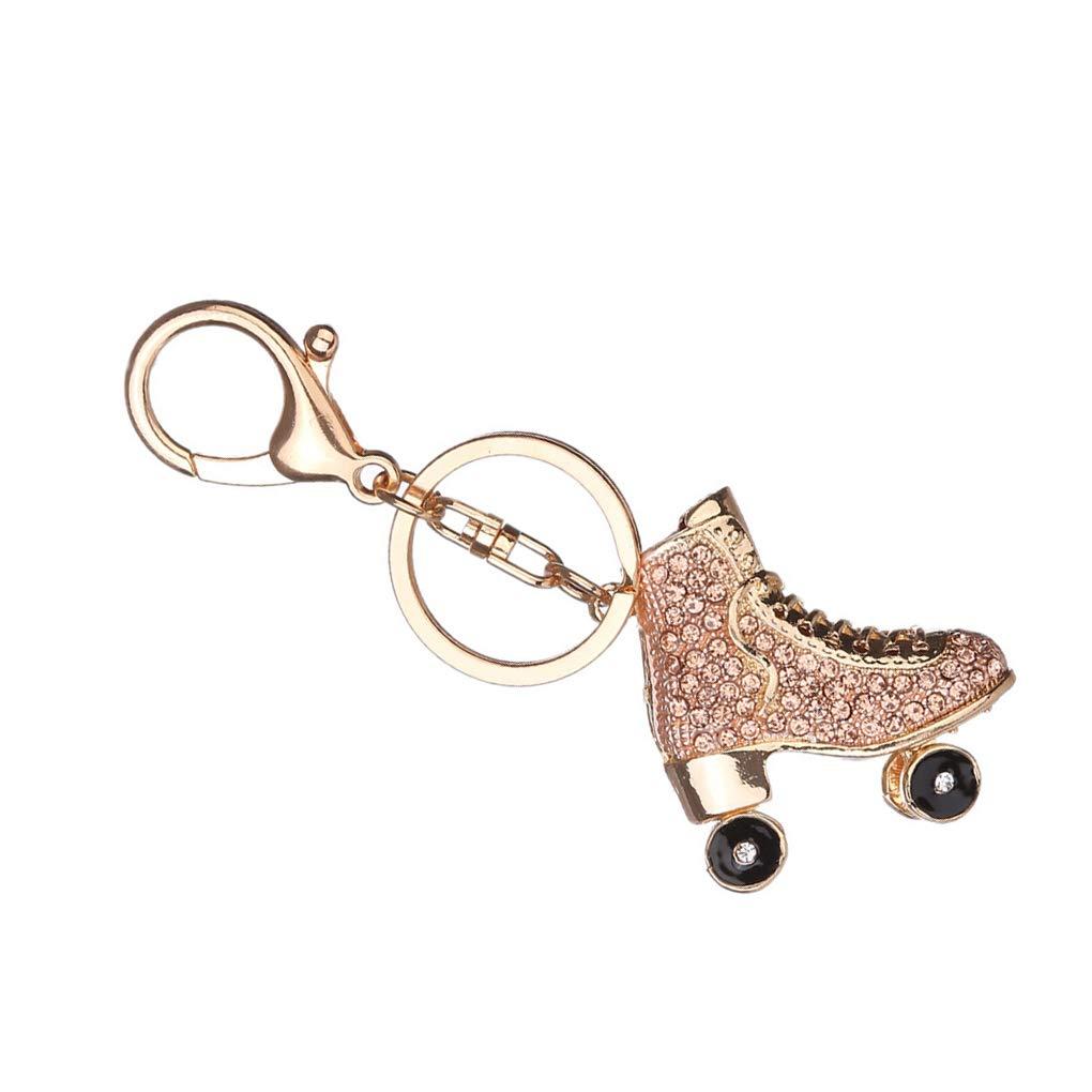 Babysbreath17 Patines de Ruedas de Zapatos de Cristal Llavero Bolso Keys Colgante Llavero Titular del Rhinestone champán 11 * 4.3cm