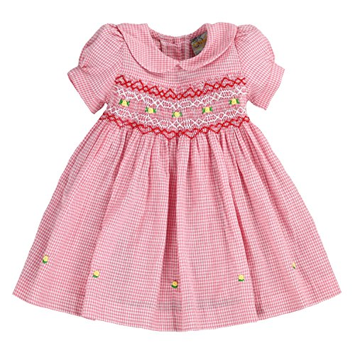 Hand Smocked Girls Dress - sissymini - Infant and Toddlers Hand Smocked Dress | Primrose Purcell's Plaid in Pastel Pink 4T
