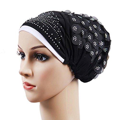 Crystal Skull Hat (Women Turban Crystal Flower Hijab India Hat Muslim Headscarf Black)