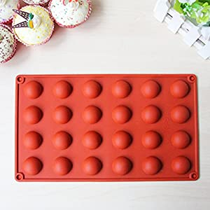 Lemarle 24-Cavity Hemisphere Silicone Mold Non Stick Chocolate Biscuits Teacake Pan Half Round Dome Baking Tray