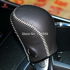 Amazon Com Black Genuine Leather Gear Shift Knob Cover