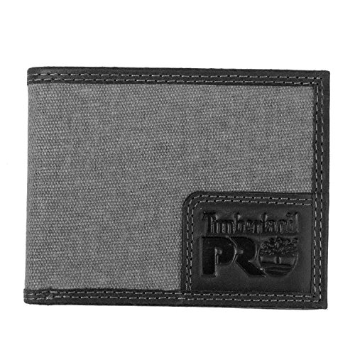Timberland Mens Canvas - Timberland PRO Men's Canvas Leather RFID Billfold Wallet with Back ID Window, charcoal, One Size