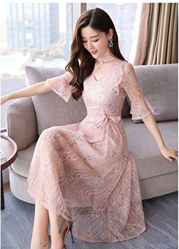 Women`s V Neck Dresses Dress Lace Elegant cotyledon Flare Waist Pink Sleeve High 6B1Bn