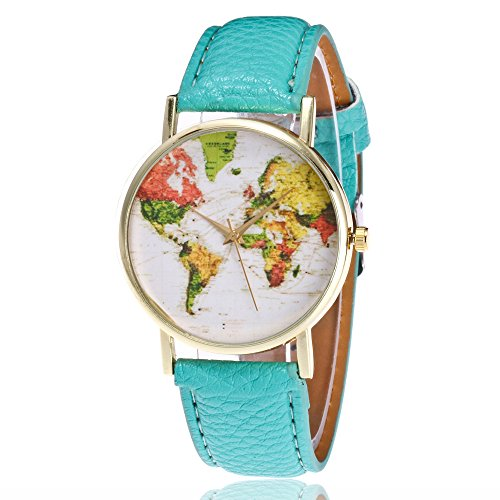 2017 New Womens Map Watch,COOKI Unique Quartz Analog Fashion Clearance Lady Watches Female watches on Sale Casual Wrist Watches for Women,Round Dial Case Comfortable PU Leather Watch-H59 (Green) (Mini 23 Ladies Watch)