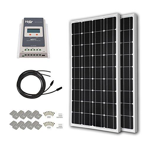 HQST 200 Watt 12 Volt Monocrystalline Solar Panel Kit wit...
