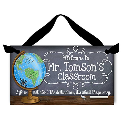 Toad and Lily Teacher Chalkboard Classroom with World Globe Quotation Saying Door Sign Teacher End of Year Gift TDS014 -