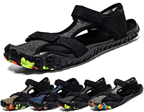 Sisttke Men's Women's Beach Sandals Outdoor Sports Hiking Sandals Quick Dry Barefoot Water Shoes Summer Breathable Closed Toe Casual Walking Sandals Black