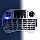 HDE Wireless Backlit Multimedia Keyboard Touchpad Mouse 2.4GHz Remote (White)