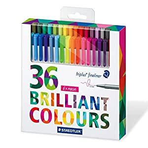 Staedtler Color Pen Set, Set of 36 Assorted Colors (Triplus Fineliner Pens)