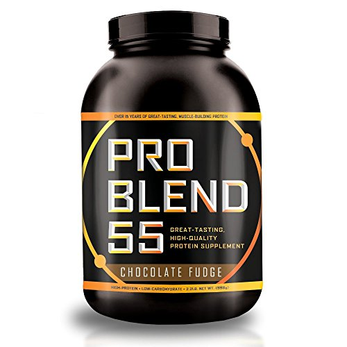 Pro Blend 55 Protein Powder – Low Carb Gainer & Meal Replacement Powder – Whey, Casein, Egg Albumin Protein – Chocolate Fudge – 2.2 Pound