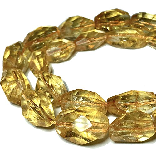 [ABCgems] Brazilian Citrine (Beautiful Inclusions) Grade AA 12x16mm Faceted Free-Form Nugget Beads (Faceted Citrine Bead)