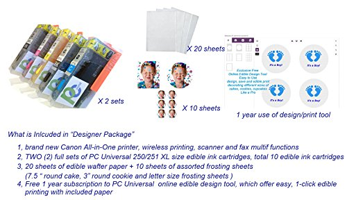 PC Universal Edible Printer Bundle- Designer Package- with 2 Sets of Edible Inks + 30 Assorted Frosting and Wafer Sheets+ 1 YR Cloud Base Design Tool by PC Universal (Image #1)